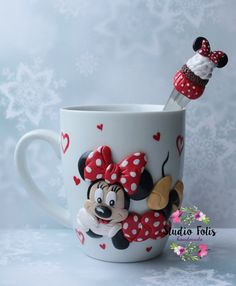 mug with polymer clay decor  minnie mouse