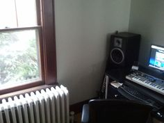 A side glimpse of my little home studio workstation.