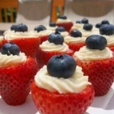 Red, white and blue - strawberries with cream cheese filling and blueberries