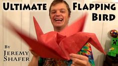 Ultimate Flapping Bird - Published on Jan 20, 2016 How to fold an origami bird that flaps it's wings when you pull it's tail AND can spin on a finger and be worn as a hat.  A couple extra things it does that I forgot to mention... When using a pen, it can spin on its head like I showed in the Flapping Pegasus tutorial here: https://youtu.be/4lFxifKKEGQ Also, if you put the wings slanted a little upward it will fall to the ground like a badminton birdie and always land right side up. Enjoy!