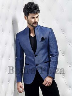 Grandiose blue color linen blazer with velvet piping and black buttons. Item code: TSJY1169L http://www.bharatplaza.com/new-arrivals/mens-blazer.html
