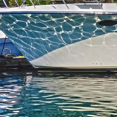 Water reflections on the big boat on a bright day on the Kennebunk River. This boat was moored on the Kennebunkport side. Kennebunk Port, Custom Carpet, Farm Stand, Water Reflections, Boating, Maine, Waves, Bright, Sea