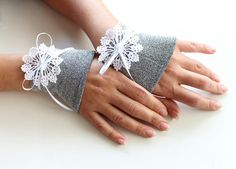 Wrist Cuff Charms, Bridal Hand Cuffs, Silver Elastic Fabric, Hand Crocheted Lace, Handmade, Unique Design