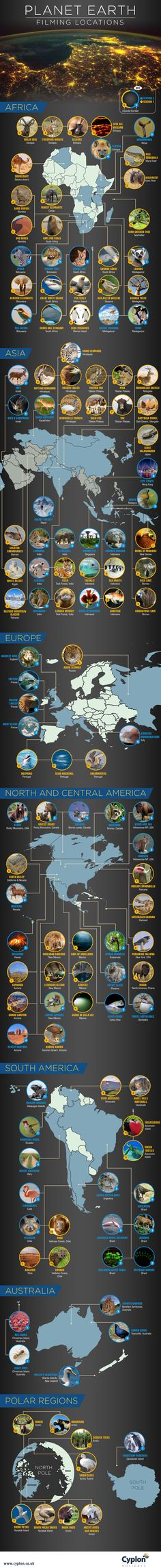 Filming locations used in BBC's Planet Earth series #map #bbc #planetearth #world