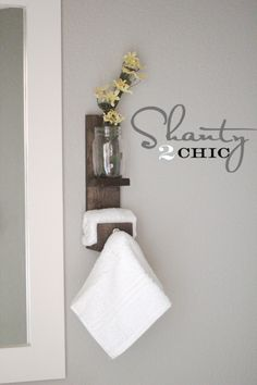 Mason Jar towel hook / Downstairs Bathroom