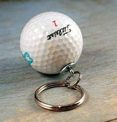 Upcycled DIY Tutorial Golf Ball Keychain! This would be a cute party favor for a golf theme party!