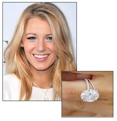 Blake Lively's 12 carat engagement ring from Ryan Reynolds was designed by Lorraine Schwartz. The light pink flawless oval cut diamond is custom set in an ultra-delicate rose gold split-shank double diamond pave band. The rumored cost was $2 million dollars. Schwartz also created Lively's diamond rose gold wedding ring, which complements the engagement ring.