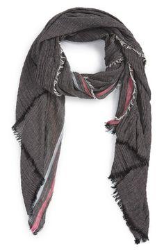 Women's Renee's Accessories Stripe Crinkle Scarf - Black