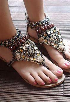 new fashion retro Bohemian rivet bead flat sandals Gladiator