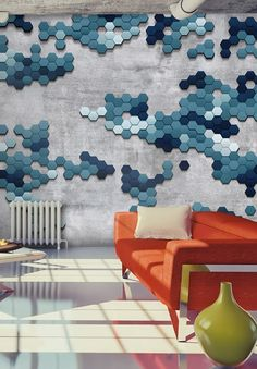 """Industrial home decor for living rooms: artistic photo wallpaper """"Sea puzzle"""" – faux concrete wallpaper with geometric blue tiles"""
