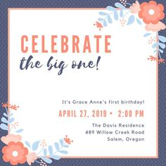 Customize 613 1st Birthday Invitation Templates Online Canva Orange Flowers MAB KK8a9yA
