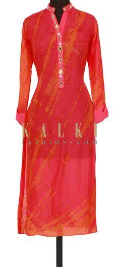 Pink and orange kurti in batik print and mirror only on Kalki