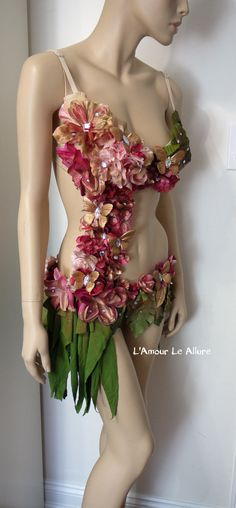 Spring Fairy Monokini with Green Skirt, Fairy costume, Fairy Outfit, Flower Monokini, Dance, Rave