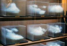 Don`t you forget about clouds. Most visited at The Armory Show 2012 installation of Leandro Erlich 'La Vitrina Cloud Collection'. Made out of wood, glass, acrylic and solid surface it displays, diorama-like, different clouds of London. Sculpture Art, Sculptures, Illusion Kunst, Modern Art, Contemporary Art, Instalation Art, Art Abstrait, Grafik Design, Art Plastique