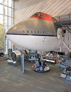"""February 9, 1969: the first 747-100 """"jumbo jet"""" made its first flight. This nose section from a Northwest Airlines Boeing 747-151 is on display in the """"America by Air"""" exhibition at our Museum in DC. Discover its story."""