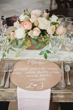 Rustic garden look. Love the peach green and white with butcher block paper menus and lace runner