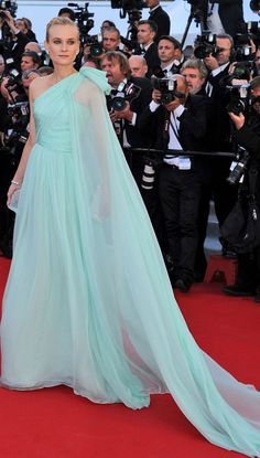 Diane Kruger aqua cape dress Cannes 2012 opening ceremony.  Diane Kruger always stuns me with her gorgeous gowns.