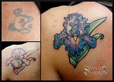 Cover up of an old moon with a graceful bearded iris #flower, tattooed by Shanti.  #tattoo #flowertattoo #tattoodesign #floral #ink #beardediris #irisflower #coverup