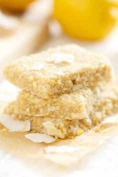 Cashews, coconut, maple syrup, lemon zest and lemon juice are pulsed together in a food processor and then pressed into a pan. Zesty, healthy and fresh.