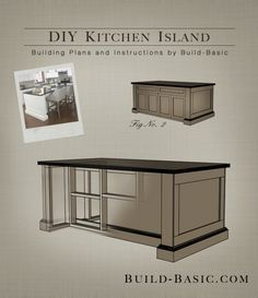 EASY BUILDING PLANS! Build a DIY Kitchen Island with FREE Building Plans by @BuildBasic www.build-basic.com #kitchenisland #freeplans #woodworking #whitecabinets #diykitchen