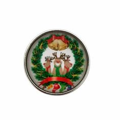 Christmas Deer Wreath Snap Charm 20mm for Snap Jewelry
