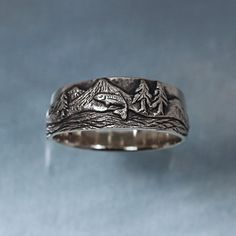 TROUT FISHING Ring in sterling silver - Mountain Fly Fishing. $155.00, via Etsy.