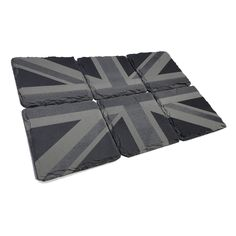 A set of 6 in-house produced slate coasters engraved with the Union Jack.