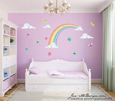 Colorful Pastel Half Rainbow with Butterflies Fabric Wall Decal Set Rainbow Dimensions: 34 Tall x 52 Wide Clouds: x2 17 wide Clouds & one 10.5 wide cloud Butterflies: 5 of 5 Butterflies, 5 of 4 Butterflies **Rainbow also available in Reverse (lowest cloud on Right Side)** Wall Decals are printed on a polyester fabric material with an adhesive back. Decals can be installed on virtually any flat surface (except non-painted brick) and then removed and reapplied many times over. Non-Toxic…
