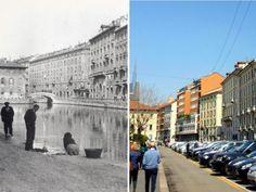 Alla ricerca dei Navigli scomparsi di Milano |  a sinistra com'era a destra com'è oggi