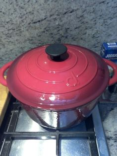 My new enamel cast iron pot. works adorable ..and just the look of it....