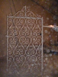 Victorian wrought iron blacksmith crafted ornate heart scrolled gate