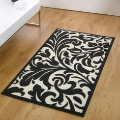 Flair Rugs Element Warwick Damask Rug, Black/Ivory, 120 x 160 Cm Damask Rug, Hall Runner, Polyester Rugs, Cheap Rugs, Polypropylene Rugs, Cheap Carpet Runners, White Rug, Modern Rugs, Rug Size