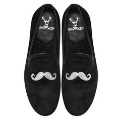 7ce2962e59b Mustache Design Men s Handmade Black Velvet Slip-On by Bareskin. Leather  Slip On ShoesBlack ...