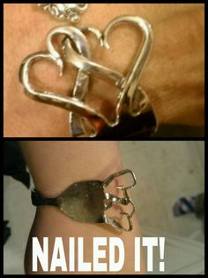 PINTEREST FAIL. Repurposed fork into bracelet...(lol) I see blood happening in about 5 seconds...