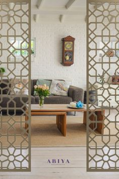 Interior Design Tip: Take a large Living room / loft or studio space and create a divide with decorative screens. You now have a statement piece in your home. Metal Decorative Room Dividers by ABIYA Mashrabiya. Manufactured and Sold in Dubai, UAE. Visit our website to create your custom room divider/ privacy screen today! #RoomDivider #LivingRoom #InteriorDesign #InteriorDesignIdea #PrivacyScreen #LivingRoomidea Interior Design Tips, Interior Design Living Room, Living Room Designs, Design Ideas, Decorative Screen Panels, Decorative Room Dividers, Room Partition Designs, Dubai Uae, Loft
