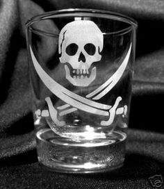 $7.99 Pirate Flag Etched Shot Glass
