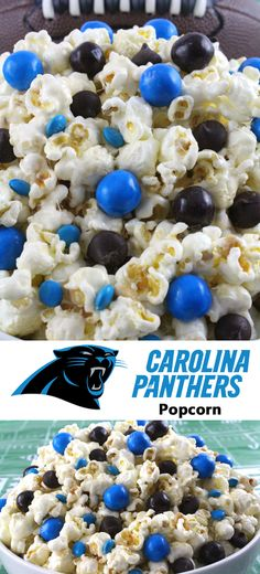 Carolina Panthers Popcorn for those Carolina Panthers fans in your life. Sweet, salty, crunchy and delicious and it is extremely easy to make. This delicious popcorn will be perfect at your next game day football party. a NFL playoff party or a Super Bowl party. Follow us for more fun Super Bowl Food Ideas.
