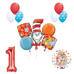 How about a Cat in the Hat birthday party? 13 pc Dr Seuss Cat in the Hat Birthday Party Balloon Supplies and Decorations - Dr Seuss Birthday Party, Baby First Birthday, Birthday Balloons, 2nd Birthday Parties, Fun Party Themes, Balloon Decorations Party, Cat In The Hat Party, 1st Birthday Chalkboard, Latex Balloons