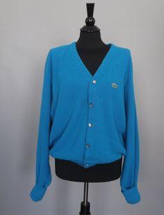 Vintage Retro Izod Lacoste VNeck Button Up Cardigan Sweater Mens Oversize Cerulean Blue Preppy Sportswear Size XL Large Mens Women's Hipster...