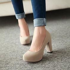 zapatos de las mujeres de las bombas del dedo del pie zapatos de tacón grueso ronda más colores disponibles – USD $ 27.99