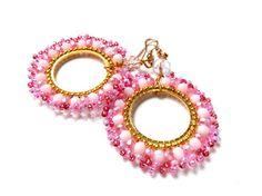 BEADED HOOP EARRINGS gypsy girl round earrings by ERYCOLLECTION, $16.00