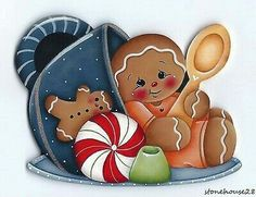 Cute illustration of a teacup with a sitting gingerbread man. Gingerbread Ornaments, Gingerbread Decorations, Christmas Gingerbread, Christmas Wood, Christmas Pictures, Christmas Projects, Wood Ornaments, Christmas Ornaments, Christmas Decorations