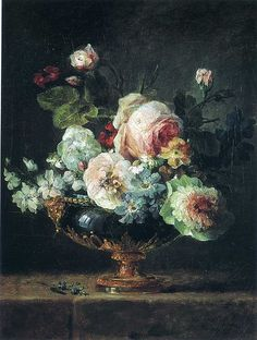 Image: Anne Vallayer-Coster - Flowers in a blue vase Baroque Painting, Baroque Art, Oil Painting Abstract, Art Floral, National Gallery Of Art, Still Life Flowers, Botanical Art, Oeuvre D'art, Flower Art