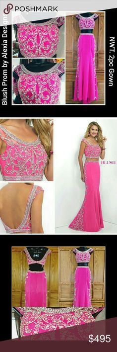 2017 BLUSH PROM l 2pc Embellished Gown l Sz 0 NWT 2017 2PC GOWN BY BLUSH PROM ALEXIA DESIGNS. Size 0. Mermaid.Jersey with mesh overlay.?Crystal beaded crop top. Matching beading on the full-length skirt. Fabric has fuzz as noted in the photo. Sold As-is. Approx measurements of the Top are Bust 32 inches, Length 12 inches & Width 24 inches. Approx measurements of the skirt are: Waist 25.5 inches & Hips 36 inches. Approx length of the skirt are Front 48 inches & Back 52 inches *Stock photos…