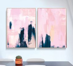 Set of 2 Prints, Abstract Art Prints, Large Wall Art, Printable Abstract Art, Navy Blue and Pink, instant download Art, Minimal Art A1 Print by DanHobdayArt on Etsy