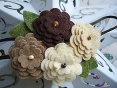 Love- wool felt flowers