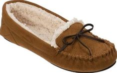 Dearfoams Mixed Material Moccasin Slipper with Bow in Chestnut. Equal parts  comfort and style, the Dearfoams Mixed Material Moccasin with Q will surely  ...