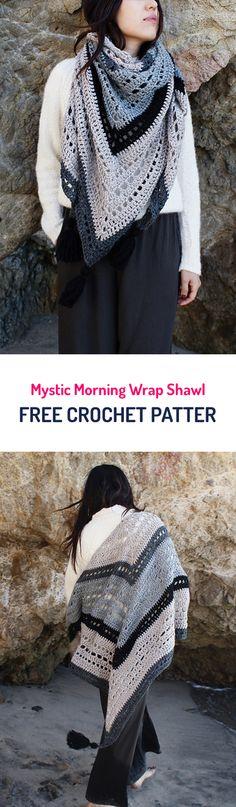 Mystic Morning Wrap Shawl Free Crochet Pattern #crochet #crocheting #crocheted #yarn #handmade #crafts