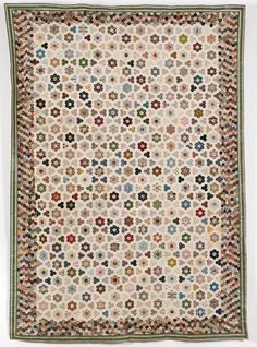 Hexagons!!!! Lugley House Coverlet, Catherine Eldridge, 1830-39, English, paper pieced, earliest fabric c. 1790s, latest 1830s. Colors still bright, including the yellows, which are usually first to fade.