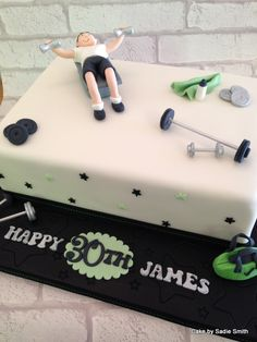 Gym Lovers Birthday Cake - http://www.cakebysadiesmith.co.uk/celebration-cakes/gym-lovers-birthday-cake/
